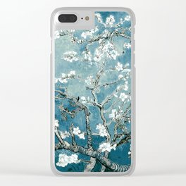Vincent Van Gogh Almond Blossoms Teal Clear iPhone Case