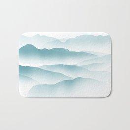 blue minimalist clouds Bath Mat