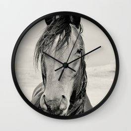Black and White Horse Portrait Wall Clock