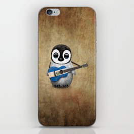 Baby Penguin Playing Salvadorian Flag Acoustic Guitar iPhone Skin