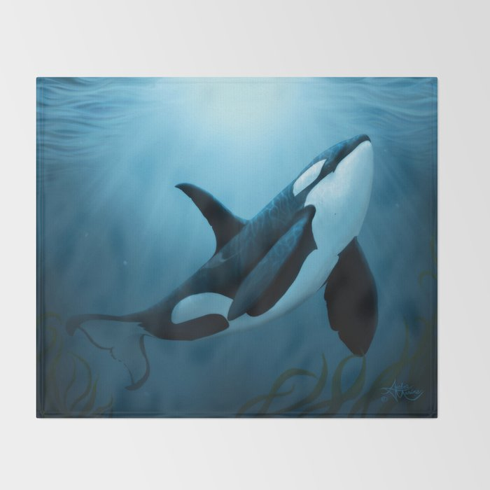 """""""The Dreamer"""" by Amber Marine ~ Orca / Killer Whale Art, (Copyright 2015) Throw Blanket"""