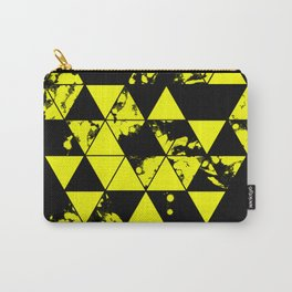 Splatter Triangles In Black And Yellow Carry-All Pouch