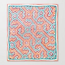 Song to Bring Vision & Insight - Traditional Shipibo Art - Indigenous Ayahuasca Patterns Canvas Print