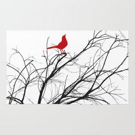 Jaunty Red Bird on Branch A533 Rug