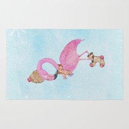 Winter Woodland Stranger- Cute Flamingo Bird Snowy Forest Illustration Rug