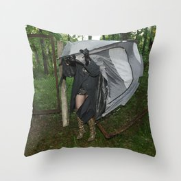 It's a Matter of Fact that it Always Rains on Tents Throw Pillow