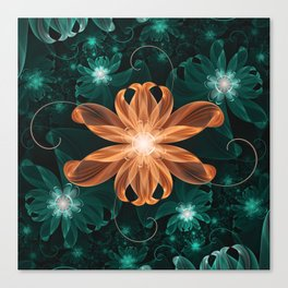 Alluring Turquoise and Orange Tiger Lily Flower Canvas Print