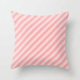 Classic Blush Pink Glossy Candy Cane Stripes Throw Pillow