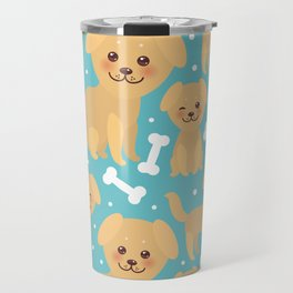 pattern funny golden beige dog and white bones, Kawaii face with large eyes and pink cheeks Travel Mug