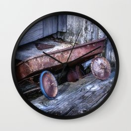Left and Forgotten a little red wagon Wall Clock