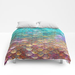 Aqua and Gold Mermaid Scales Comforters