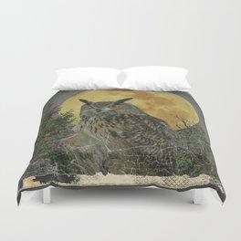 SHABBY CHIC ANTIQUE NIGHT OWL  FULL MOON Duvet Cover