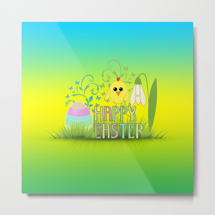 Happy Easter Egg, Chick and Snowdrop Metal Print