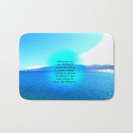 Serenity Prayer With Blue Ocean and Amazing Sky Bath Mat
