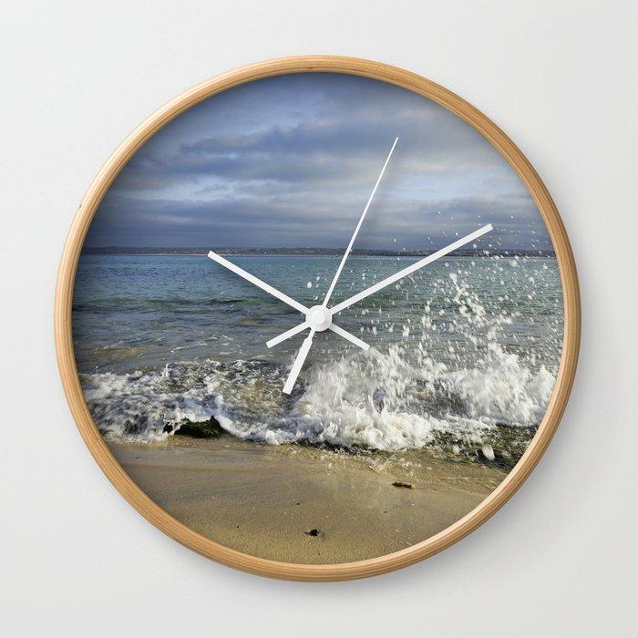 White Water Waves Crashing on Winter Beach Wall Clock