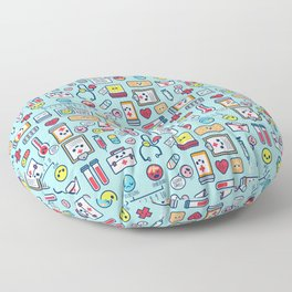 Proud To Be a Nurse Pattern / Blue Floor Pillow