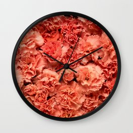 Coral Carnations Wall Clock
