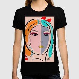 Pastel Pop Art Girl Portrait Minimalist T-shirt