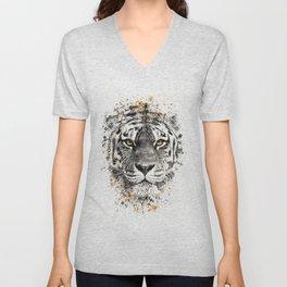 Tiger with yellow eyes Unisex V-Neck