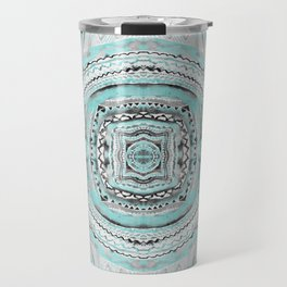 Teal & Blue Complexities - a Watercolor Tribal Pattern Travel Mug