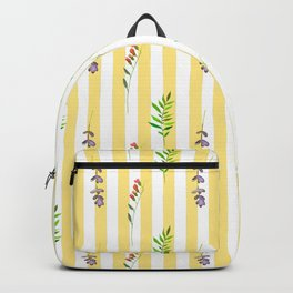 Geometrical yellow white pink watercolor floral leaves stripes Backpack