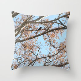 Rowan tree branches with berries and bird Throw Pillow