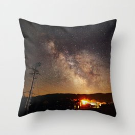 The Salty Raven of Cape Meares Milky Way Throw Pillow