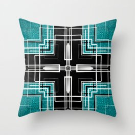 Teal Black and White Line Abstract Throw Pillow