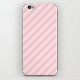 Light Millennial Pink Pastel Candy Cane Stripes iPhone Skin