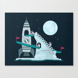 Penguin Space Race Canvas Print