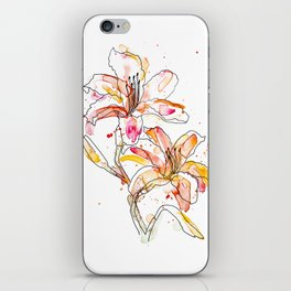 Day Lilies - Watercolor and ink iPhone Skin