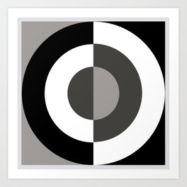 Circle, Minimalism Black, White, Grey Art Print