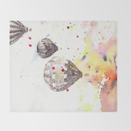 Hot Air Balloons Painting Throw Blanket