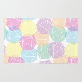 Pastel D20 Pattern Dungeons and Dragons Dice Set Rug