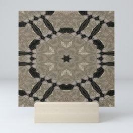 mandala wicker applied star natural color, black background Mini Art Print