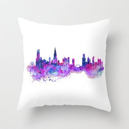 Chicago Watercolor Skyline 2 Throw Pillow