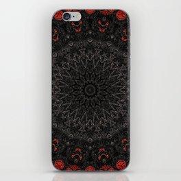 Red and Black Bohemian Mandala Design iPhone Skin