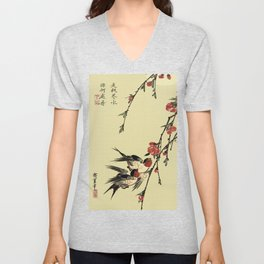 Moon Swallows and Peach Blossoms Unisex V-Neck