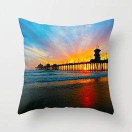 Sunset Huntington Beach Pier   Throw Pillow