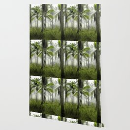 Foggy Palm Forest Wallpaper
