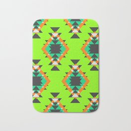 Bright shapes in neon green Bath Mat