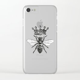 Queen Bee | Black and White Clear iPhone Case