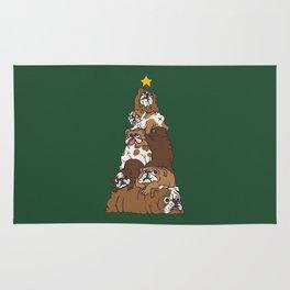 Christmas Tree English Bulldog Rug