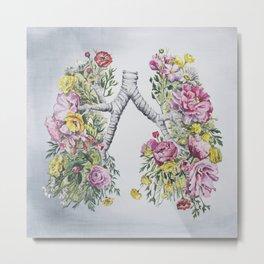 Floral Anatomy Lungs Metal Print