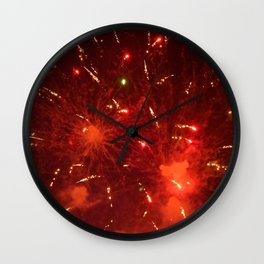 Red Fireworks Wall Clock