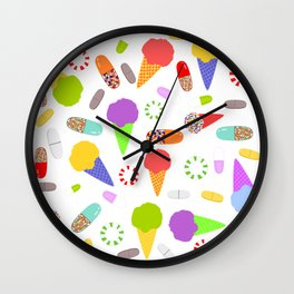 Ice Cream, Candy, and Pills Wall Clock