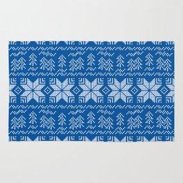 Scandinavian blue, white ornament. Rug