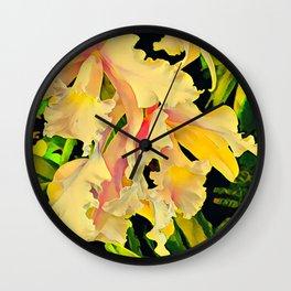 Two Cattleya Orchids Aloha Wall Clock
