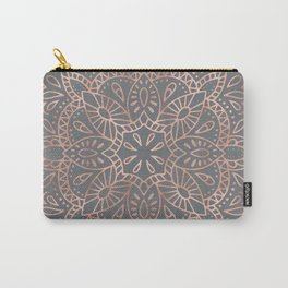 Mandala Rose Gold Pink Shimmer on Soft Gray by Nature Magick Carry-All Pouch