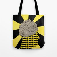brain Tote Bags featuring Brain by Art By Carob